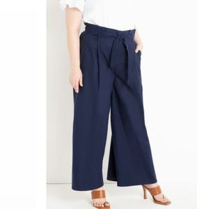 Eloquii Linen Wide Leg Palazzo Pants Navy Blue